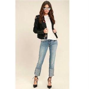 BlankNYC Deef Cuff Light Distressed Mid Rise Jeans